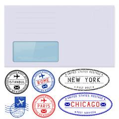 Blank envelope with address window. With set of postmarks