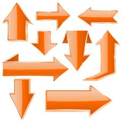Orange folded 3d arrows. Shiny web icons