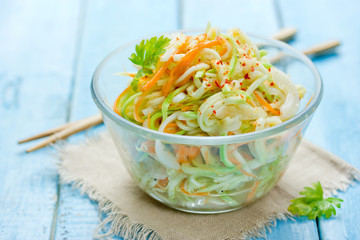 Zucchini noodles with carrot, garlic and spices