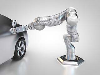 Roboter lädt automatisch ein Elektroauto