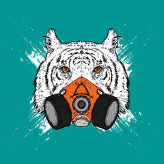 Tiger in a mask for graffiti. Respirator. Vector illustration for a postcard or a poster, print for clothes.