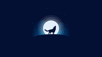 Wolf Howls At Moon Background