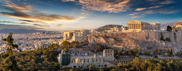 Poster Athene Panorama der Akropolis von Athen, Griechenland, bei Sonnenuntergang