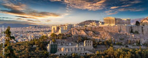 Wall mural Panorama der Akropolis von Athen, Griechenland, bei Sonnenuntergang