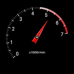 Tachometer scale on black background