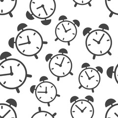 Alarm clock seamless pattern background icon. Business flat vector illustration.  Clock time sign symbol pattern.