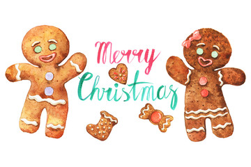 Watercolor Christmas greeting card with gingerbread cookies