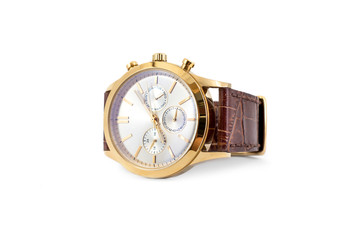 Mechanical golden men's wrist watch on white background.