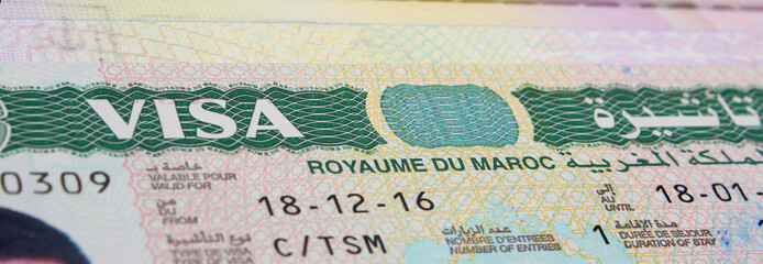 Morocco Visa on the Passport