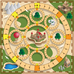 Board game of the medieval theme. Vector design for app game user interface.