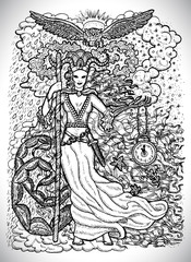 November month graphic concept. Hand drawn engraved fantasy illustration. Scary queen of Autumn