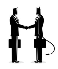 Businessman making a deal with the devil