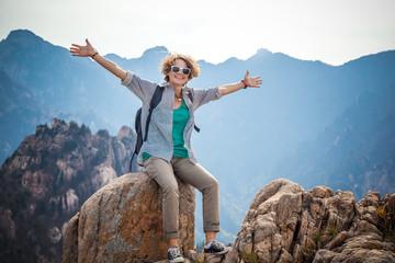 Young woman Traveler in Seoraksan national park in South Korea.
