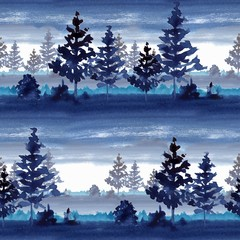 Seamless pattermn with  forest. Watercolor landscape 5