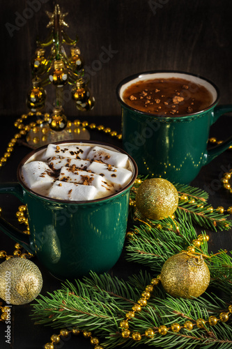 hot chocolate with marshmallows christmas cozy relax a cup of color is dark green