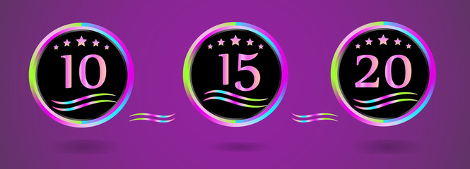 Collection round bright anniversary signs. The emblem with the date. Vector
