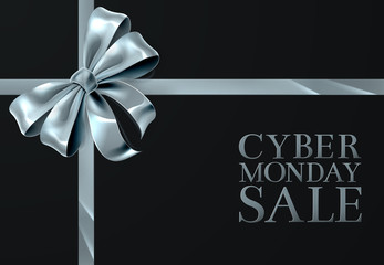 Cyber Monday Friday Sale Silver Ribbon Bow Design