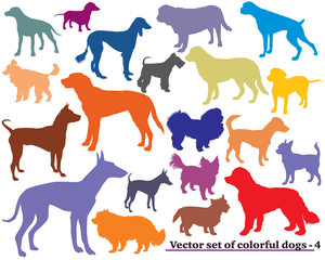Set of colorful dogs silhouettes-4
