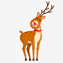 Cute cartoon deer character with bells for your design. Vector illustration.