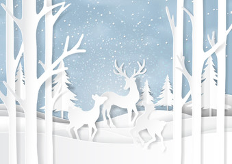 Nature landscape on snow winter background with deers familly.For merry christmas and happy new year paper art style.Vector illustration.