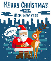 Design of Christmas and New Year's cards cute cartoon Santa claus with a bag of gifts in his deer in snowy weather. Vector illustration.