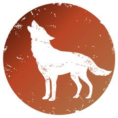 Button mit Piktogramm Wolf