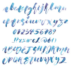 Watercolor Alphabet. Exclusive Custom Characters. Hand Lettering and Typographic art for Designs: Logo, for Poster, Invitation, Card, etc. Brush Typography. Handwritten style modern cursive font.