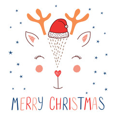 Hand drawn vector illustration of a cute funny deer face in Santa Claus hat, text Merry Christmas. Isolated objects on white background with stars. Design concept for kids, winter holidays.