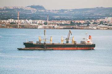 Bulk carrier ship in the bay.