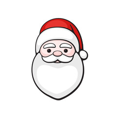 Vector illustration. Head of Santa Claus. Spirit of Christmas. Cartoon with contour. Isolated on white background