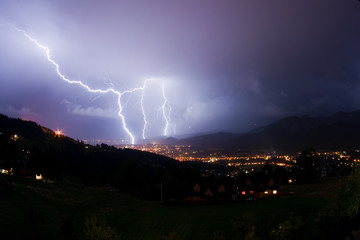 Night storm in mountains