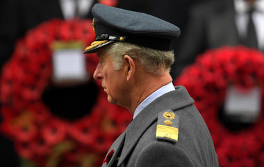Britain's Prince Charles lays a wreathe at the Remembrance Sunday Cenotaph service in London