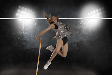 Competition pole vault jumper female