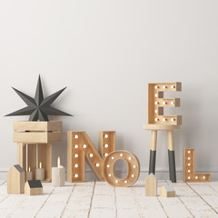 Mock up of the Christmas interior with large letters