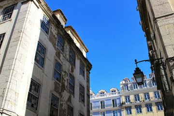 Colorful and majestic old houses in Lisbon