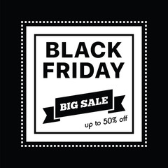Big sale fifty percent on black friday shopping vector illustration