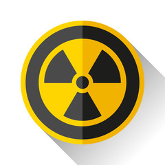 Radiation sign icon in flat style on white background, toxic emblem, vector design illustration for you project
