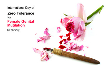 cut rose blossom, blood and knife isolated on a white background with text International Day of Zero Tolerance for Female Genital Mutilation, 6 February, concept for human rights