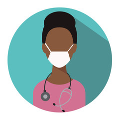Doctor web icon. Therapist medical avatar in flat style illustration