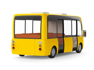 modern cartoon bus blue back