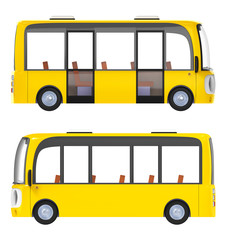 modern cartoon bus yellow side
