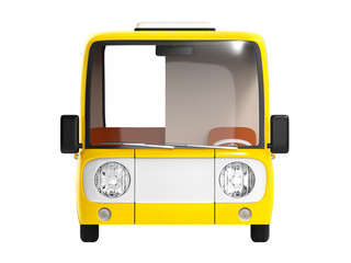 modern cartoon bus yellow front