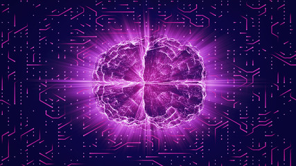 Purple glowing brain wired on neural surface or electronic conductors. Artificial intelligence (AI) and High Tech Concept.
