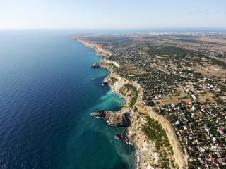 Beautiful aerial drone footage of the Black Sea coastline, Crimea