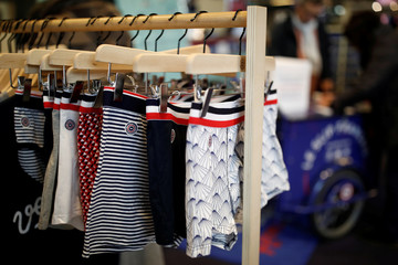 """The label of Le Slip Francais men's underwear is seen at the """"Made In France"""" fair in Paris"""