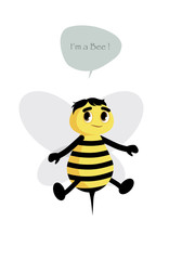 Cute bee isolated on white background and speech balloon. Vector Illustration