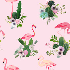 Flamingo Bird and Tropical Cactus Flowers Background. Retro Seamless Pattern in vector