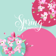 Floral Spring Graphic Design with Cherry Blossom Flowers for T-shirt, Fashion Prints in vector