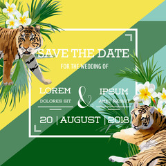 Tropical Flowers and Tiger Summer Wedding Card, Save the Date, Exotic Floral Invitation in Vector