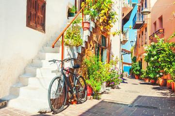 Beautiful street in Chania, Crete, Greece